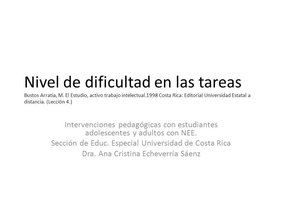 Nivel de dificultad en las tareas Bustos Arratia, M.