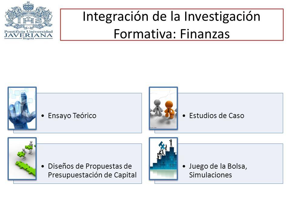 Integración de la Investigación Formativa: Finanzas Ensayo TeóricoEstudios de Caso Diseños de Propuestas de Presupuestación de Capital Juego de la Bol