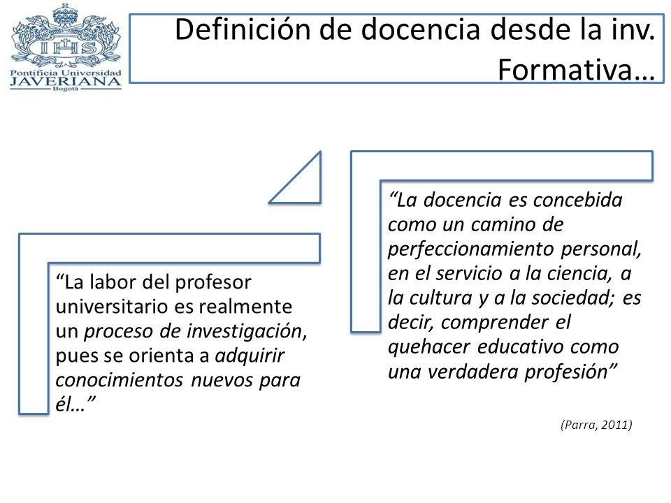 Definición de docencia desde la inv. Formativa… La labor del profesor universitario es realmente un proceso de investigación, pues se orienta a adquir