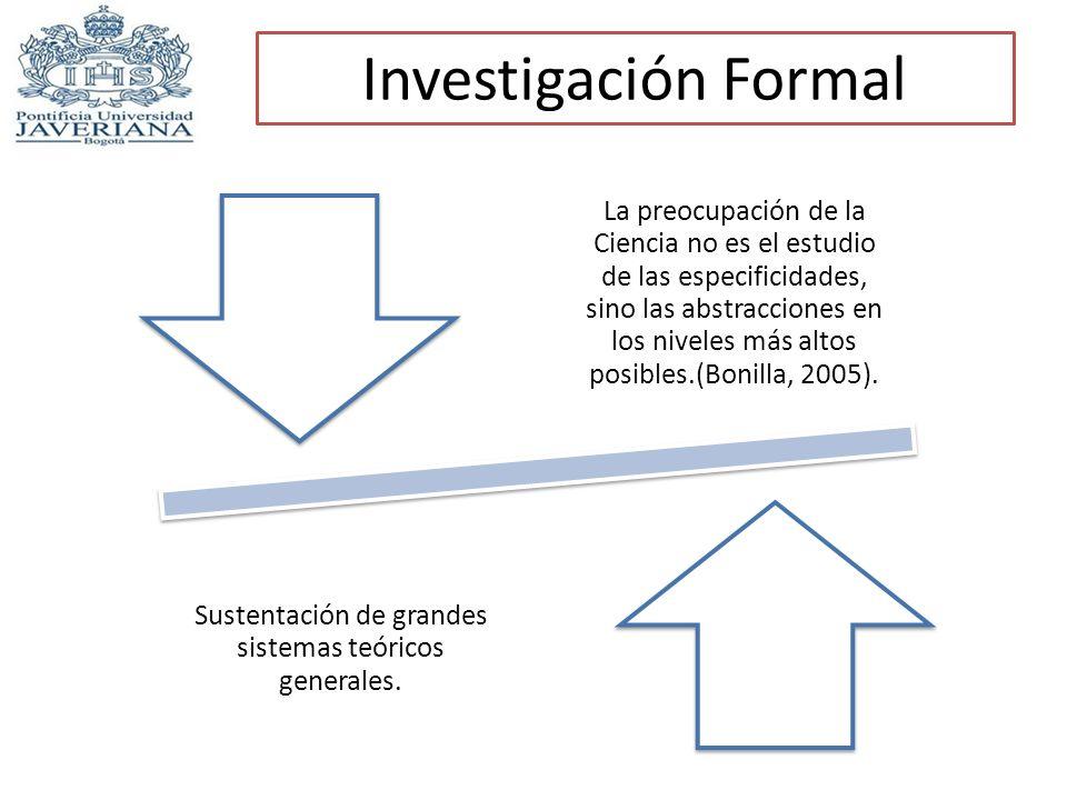 Investigación Formal La preocupación de la Ciencia no es el estudio de las especificidades, sino las abstracciones en los niveles más altos posibles.(
