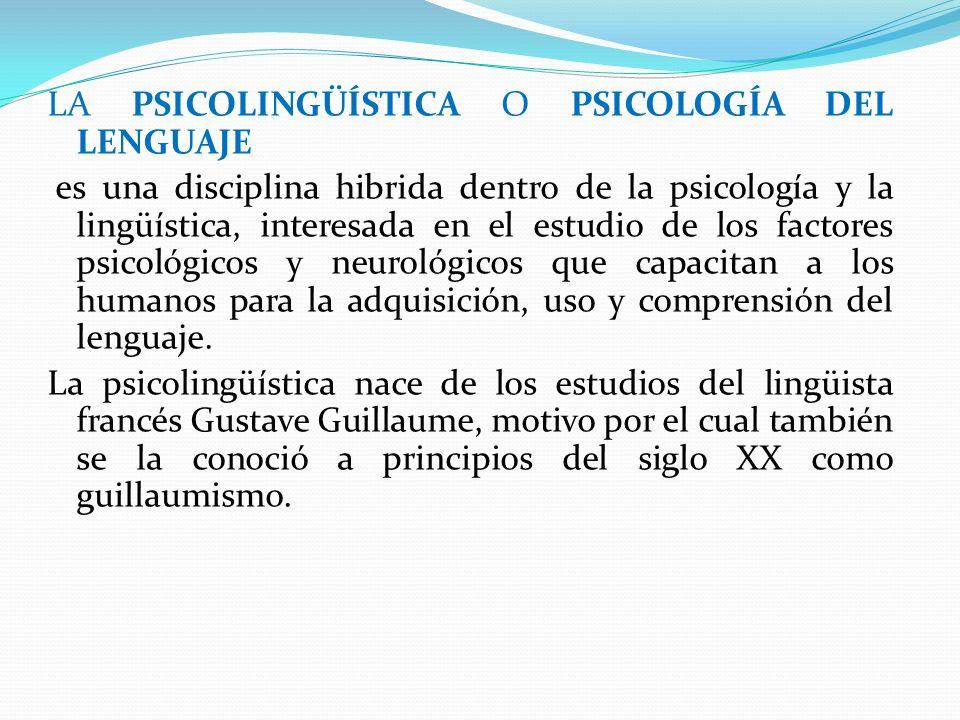 LA PSICOLINGÜÍSTICA O PSICOLOGÍA DEL LENGUAJE es una disciplina hibrida dentro de la psicología y la lingüística, interesada en el estudio de los fact