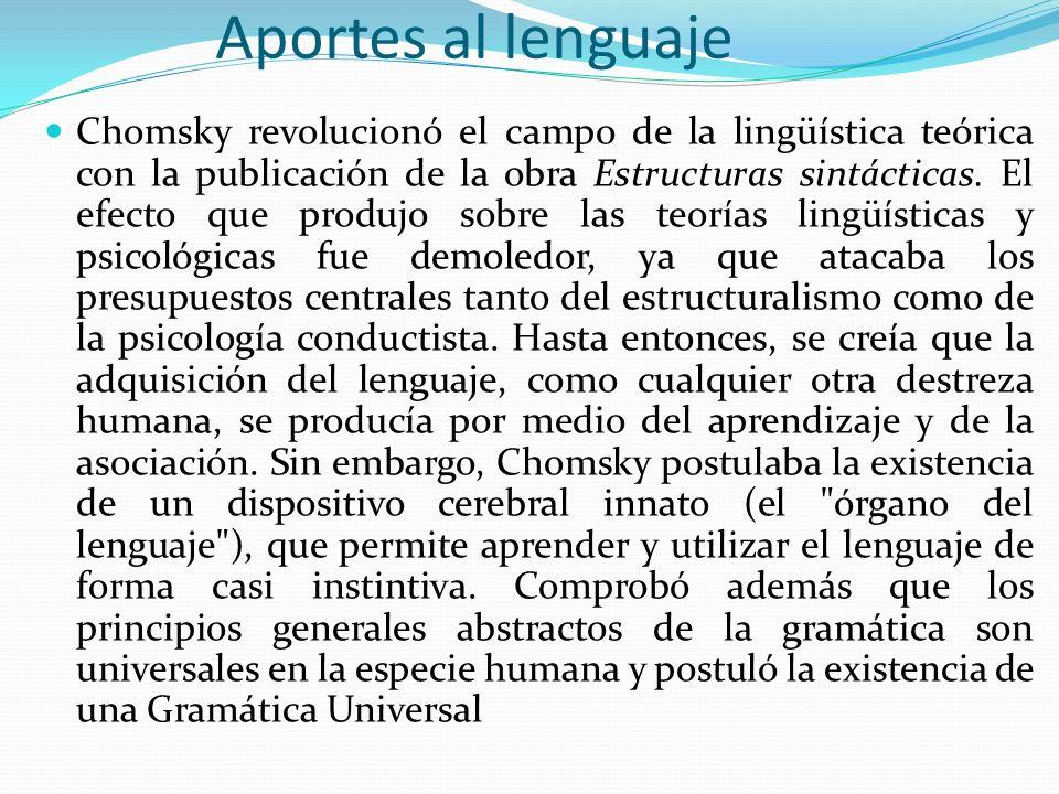 Aportes al lenguaje Chomsky revolucionó el campo de la lingüística teórica con la publicación de la obra Estructuras sintácticas. El efecto que produj