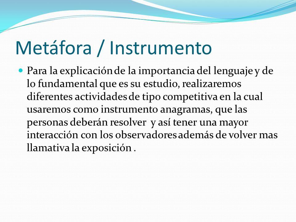 Metáfora / Instrumento Para la explicación de la importancia del lenguaje y de lo fundamental que es su estudio, realizaremos diferentes actividades d