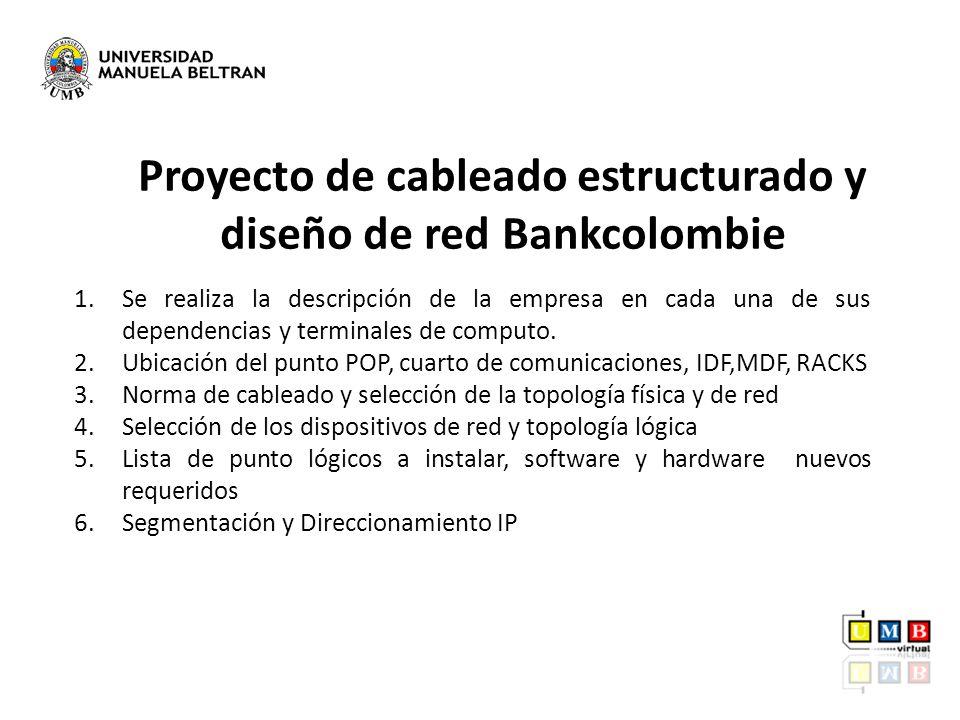 Proyecto de cableado estructurado y diseño de red Bankcolombie 1.Se realiza la descripción de la empresa en cada una de sus dependencias y terminales