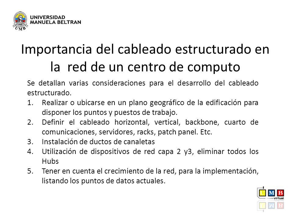 Establecimiento de la condiciones del cableado por parte del cliente Presentación de una propuesta técnica donde se incluye el sistema de cableado estructurado y de puesta a tierra.