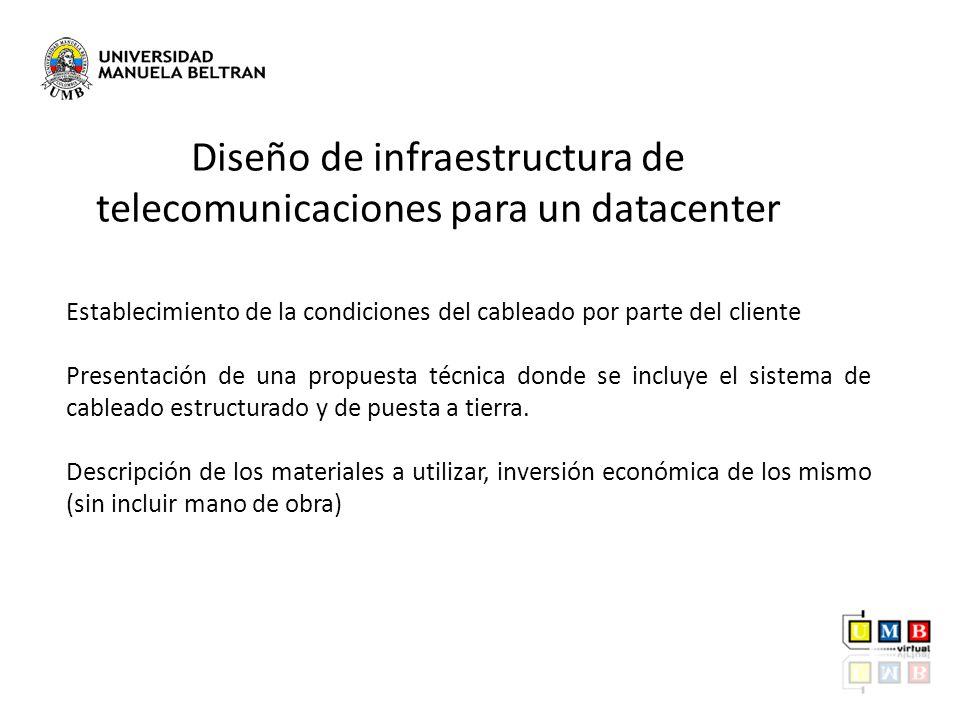 Establecimiento de la condiciones del cableado por parte del cliente Presentación de una propuesta técnica donde se incluye el sistema de cableado est