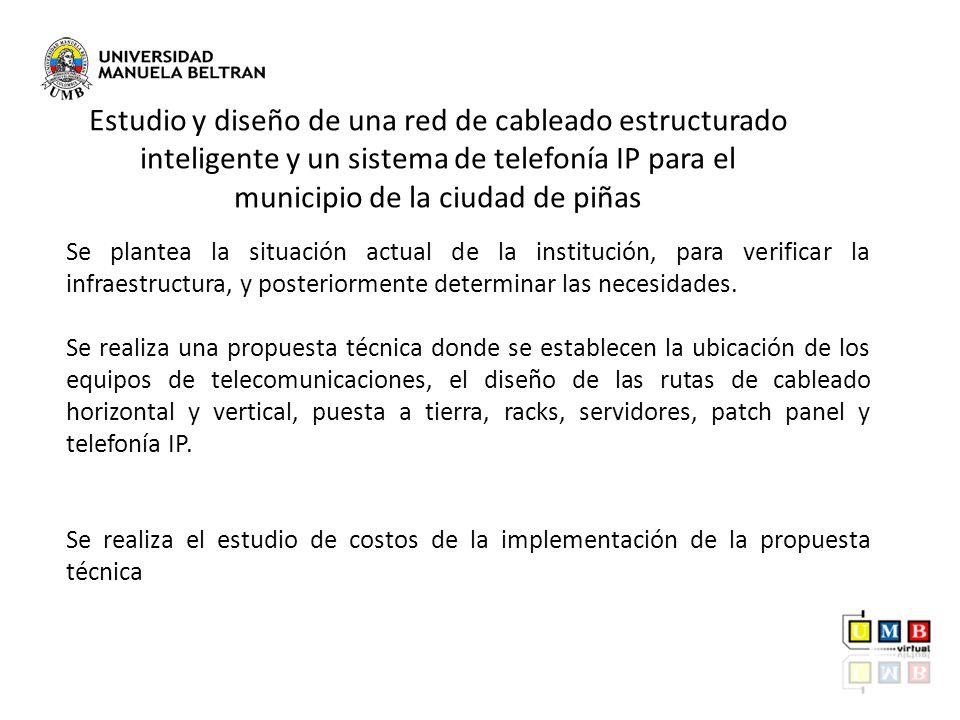 Se plantea la situación actual de la institución, para verificar la infraestructura, y posteriormente determinar las necesidades. Se realiza una propu
