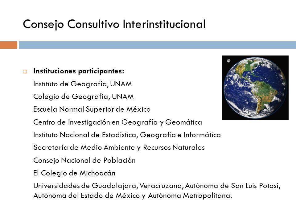 Consejo Consultivo Interinstitucional Instituciones participantes: Instituto de Geografía, UNAM Colegio de Geografía, UNAM Escuela Normal Superior de