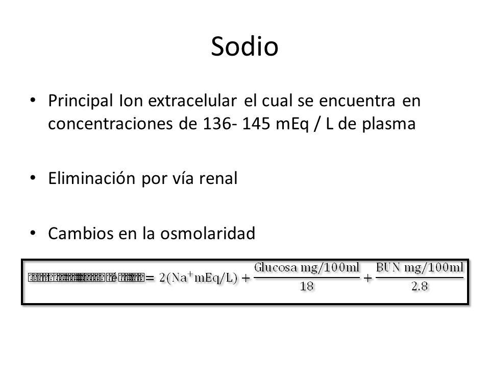 Sodio Principal Ion extracelular el cual se encuentra en concentraciones de 136- 145 mEq / L de plasma Eliminación por vía renal Cambios en la osmolar