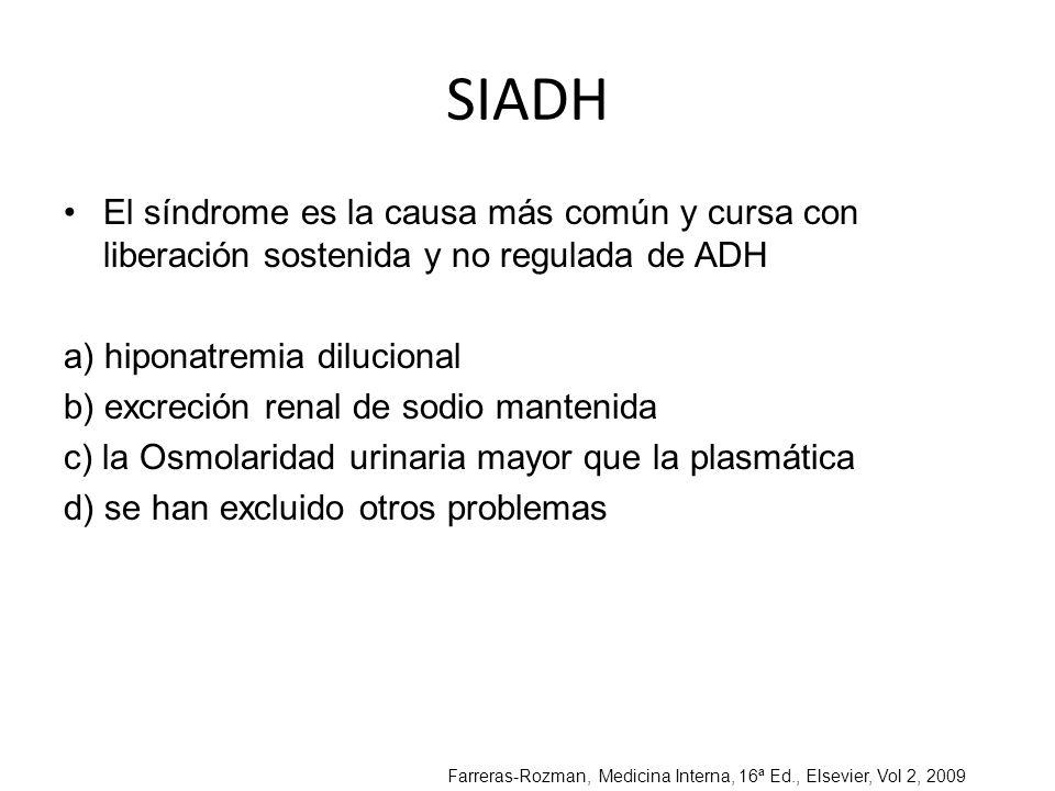 SIADH El síndrome es la causa más común y cursa con liberación sostenida y no regulada de ADH a) hiponatremia dilucional b) excreción renal de sodio m