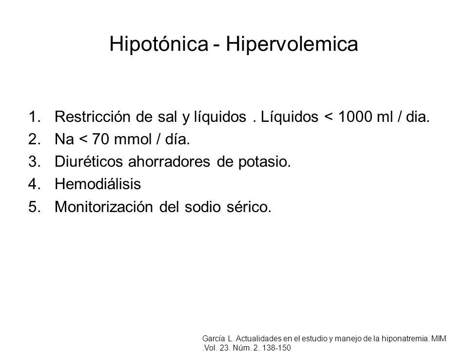 Hipotónica - Hipervolemica 1.Restricción de sal y líquidos. Líquidos < 1000 ml / dia. 2.Na < 70 mmol / día. 3.Diuréticos ahorradores de potasio. 4.Hem
