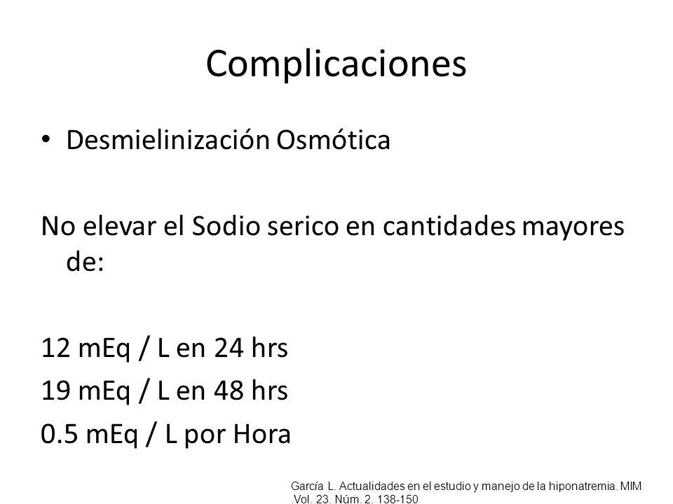 Complicaciones Desmielinización Osmótica No elevar el Sodio serico en cantidades mayores de: 12 mEq / L en 24 hrs 19 mEq / L en 48 hrs 0.5 mEq / L por