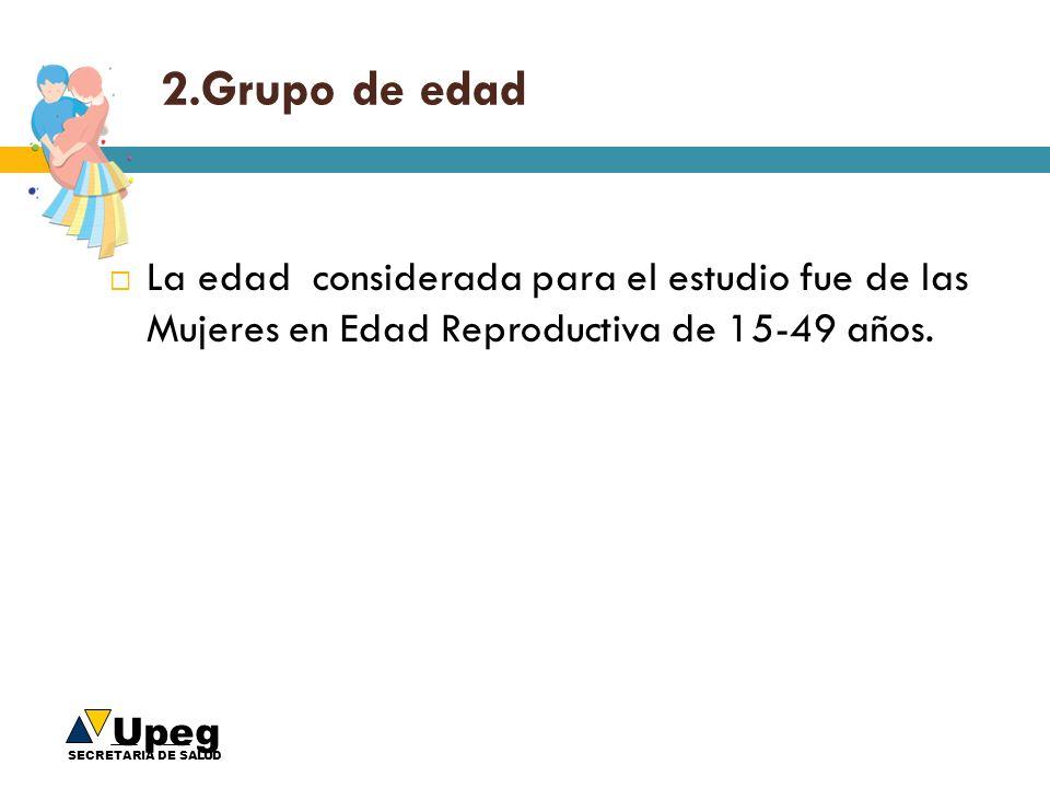 Upeg SECRETARIA DE SALUD 2.Grupo de edad La edad considerada para el estudio fue de las Mujeres en Edad Reproductiva de 15-49 años.