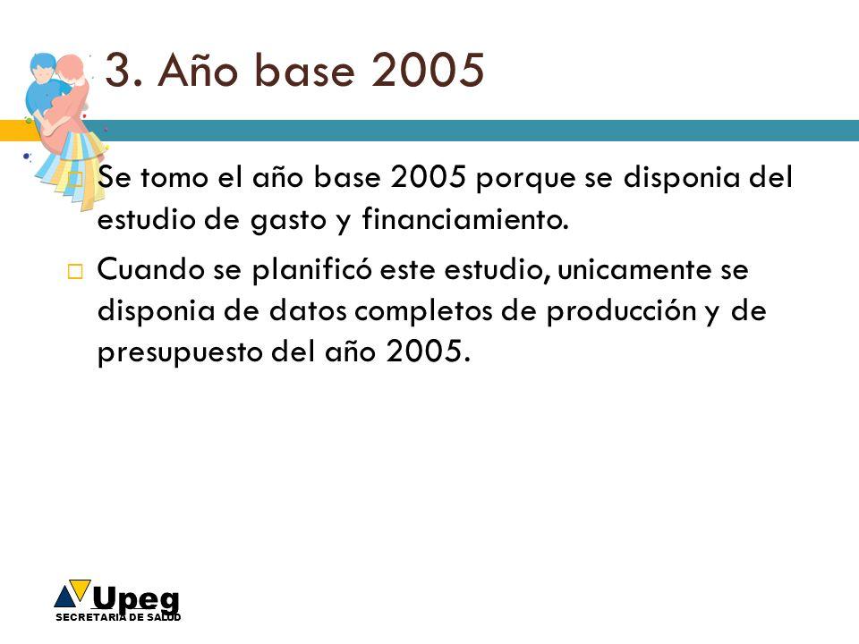Upeg SECRETARIA DE SALUD 3. Año base 2005 Se tomo el año base 2005 porque se disponia del estudio de gasto y financiamiento. Cuando se planificó este