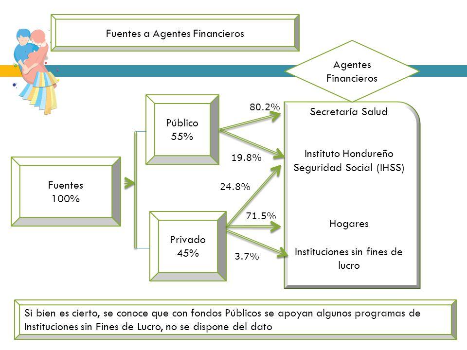 Upeg SECRETARIA DE SALUD Fuentes 100% Público 55% Privado 45% Secretaría Salud Instituto Hondureño Seguridad Social (IHSS) Hogares Instituciones sin f