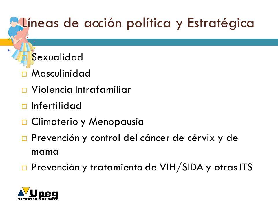 Upeg SECRETARIA DE SALUD Líneas de acción política y Estratégica Sexualidad Masculinidad Violencia Intrafamiliar Infertilidad Climaterio y Menopausia
