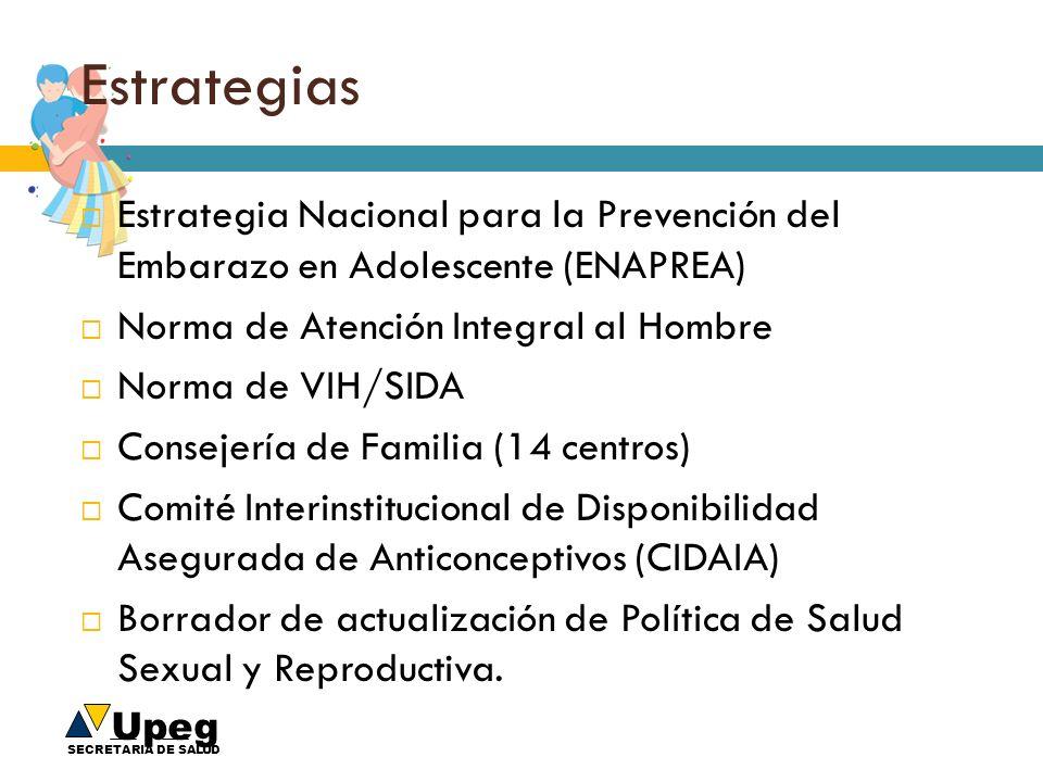 Upeg SECRETARIA DE SALUD Estrategias Estrategia Nacional para la Prevención del Embarazo en Adolescente (ENAPREA) Norma de Atención Integral al Hombre