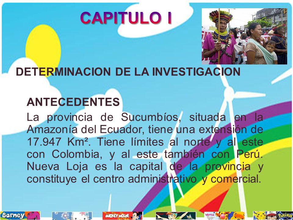 DETERMINACION DE LA INVESTIGACION ANTECEDENTES La provincia de Sucumbíos, situada en la Amazonía del Ecuador, tiene una extensión de 17.947 Km². Tiene