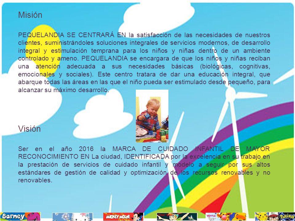 Misión PEQUELANDIA SE CENTRARÁ EN la satisfacción de las necesidades de nuestros clientes, suministrándoles soluciones integrales de servicios moderno