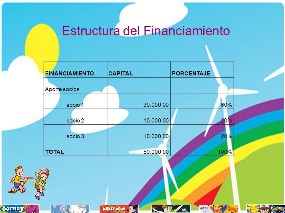FINANCIAMIENTOCAPITALPORCENTAJE Aporte socios socio 130.000,0060% socio 210.000,0020% socio 310.000,0020% TOTAL50.000,00100%
