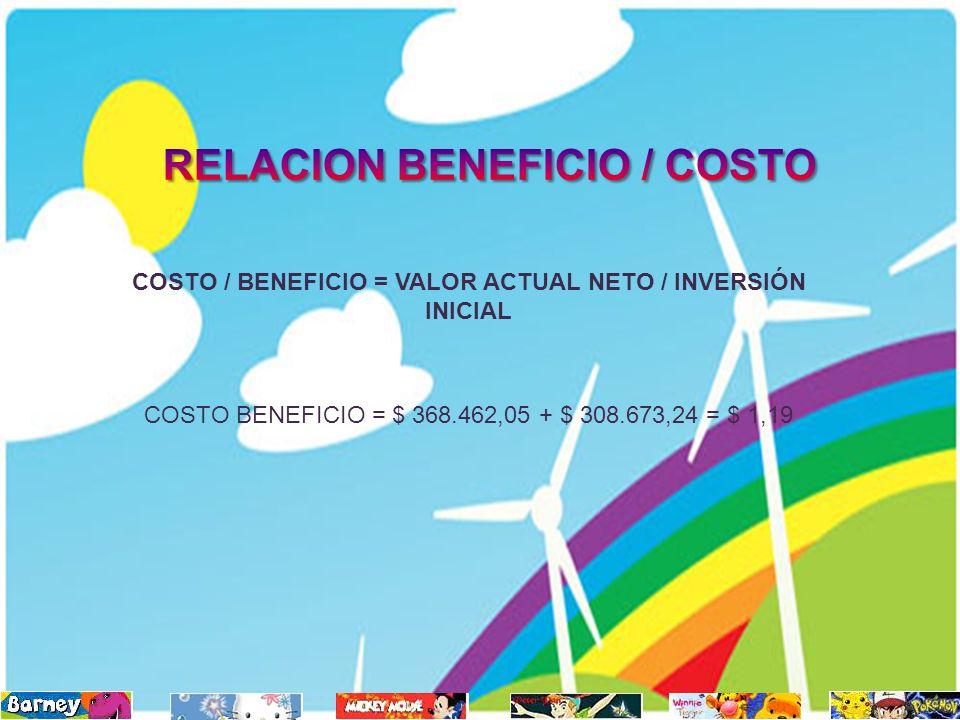 COSTO / BENEFICIO = VALOR ACTUAL NETO / INVERSIÓN INICIAL COSTO BENEFICIO = $ 368.462,05 + $ 308.673,24 = $ 1,19