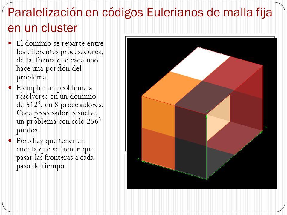 Paralelización en códigos Eulerianos de malla fija en un cluster El dominio se reparte entre los diferentes procesadores, de tal forma que cada uno ha