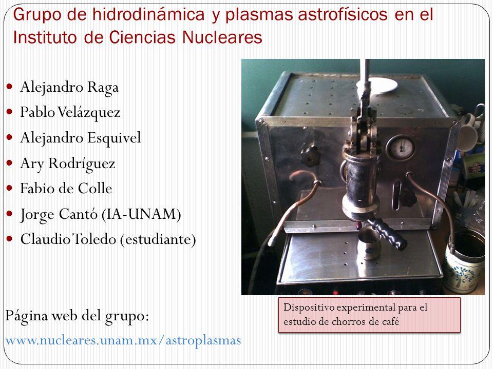 Grupo de hidrodinámica y plasmas astrofísicos en el Instituto de Ciencias Nucleares Alejandro Raga Pablo Velázquez Alejandro Esquivel Ary Rodríguez Fa