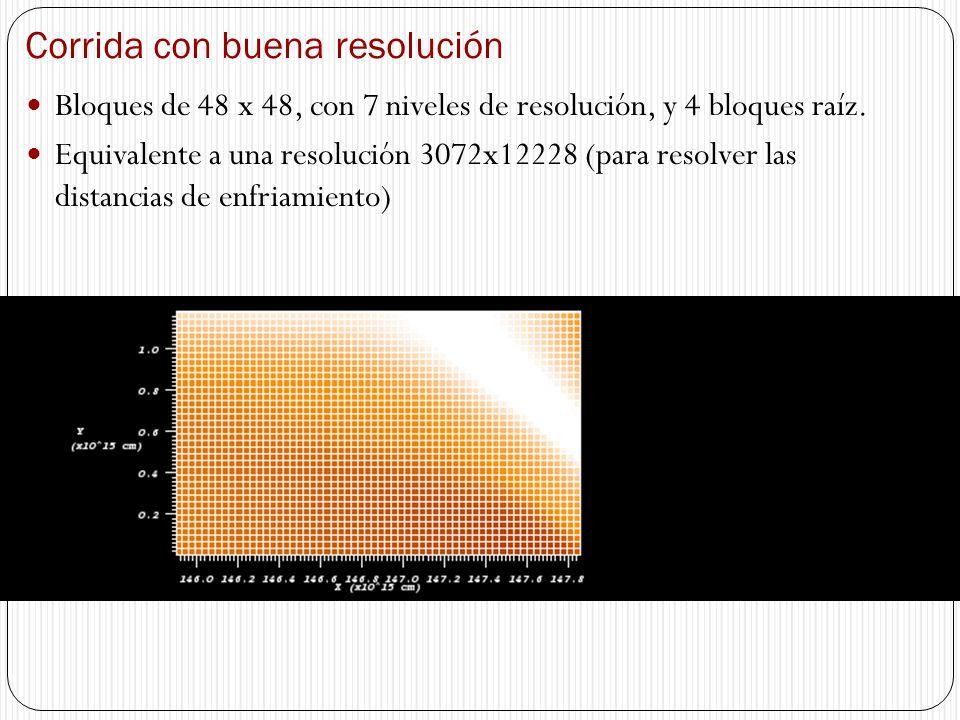 Corrida con buena resolución Bloques de 48 x 48, con 7 niveles de resolución, y 4 bloques raíz. Equivalente a una resolución 3072x12228 (para resolver