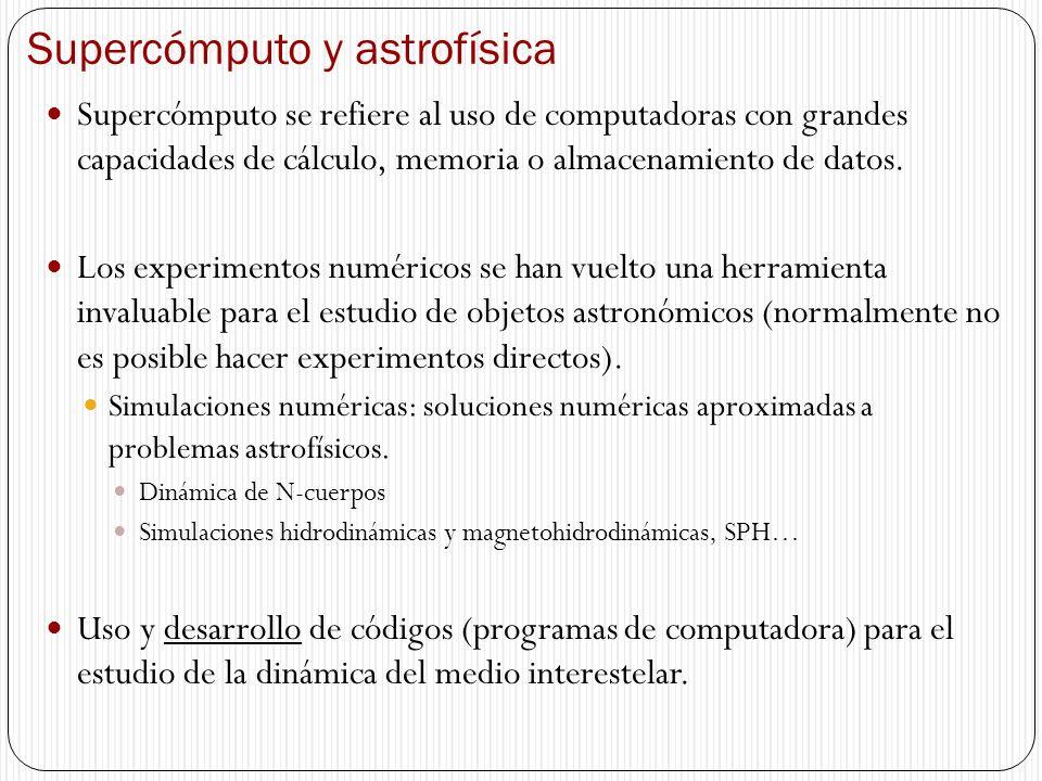 Supercómputo y astrofísica Supercómputo se refiere al uso de computadoras con grandes capacidades de cálculo, memoria o almacenamiento de datos. Los e