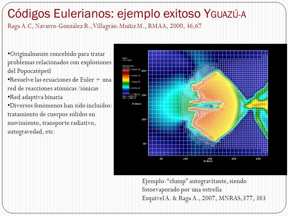 Códigos Eulerianos: ejemplo exitoso Y GUAZÚ-A Raga A.C, Navarro-González R., Villagrán-Muñiz M., RMAA, 2000, 36,67 Originalmente concebido para tratar