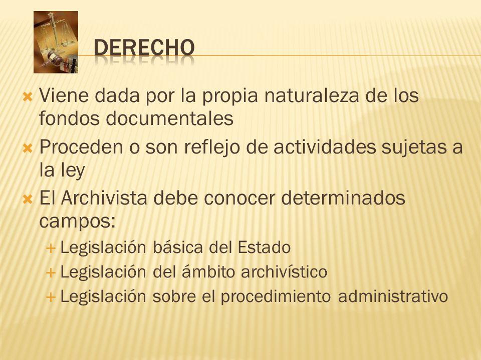 Viene dada por la propia naturaleza de los fondos documentales Proceden o son reflejo de actividades sujetas a la ley El Archivista debe conocer deter