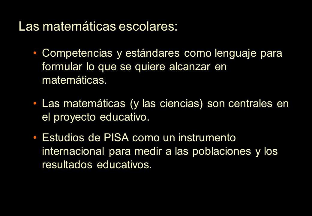 Las matemáticas escolares: Competencias y estándares como lenguaje para formular lo que se quiere alcanzar en matemáticas. Las matemáticas (y las cien