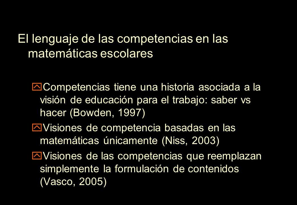 El lenguaje de las competencias en las matemáticas escolares yCompetencias tiene una historia asociada a la visión de educación para el trabajo: saber