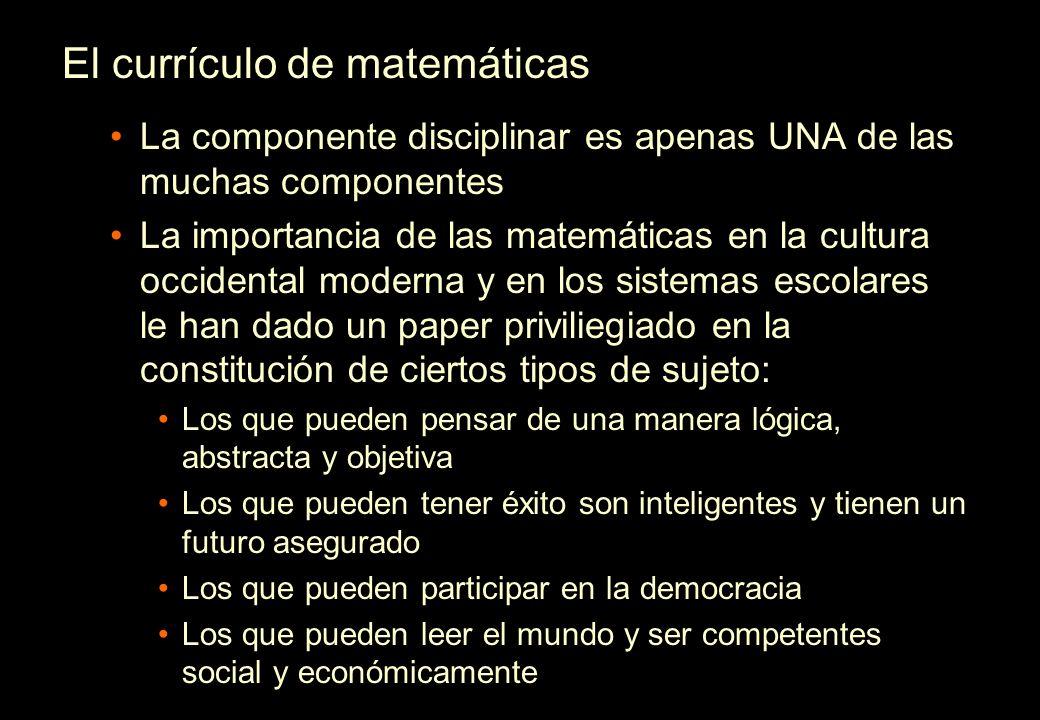 El currículo de matemáticas La componente disciplinar es apenas UNA de las muchas componentes La importancia de las matemáticas en la cultura occident