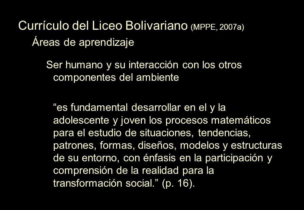 Currículo del Liceo Bolivariano (MPPE, 2007a) Áreas de aprendizaje Ser humano y su interacción con los otros componentes del ambiente es fundamental d