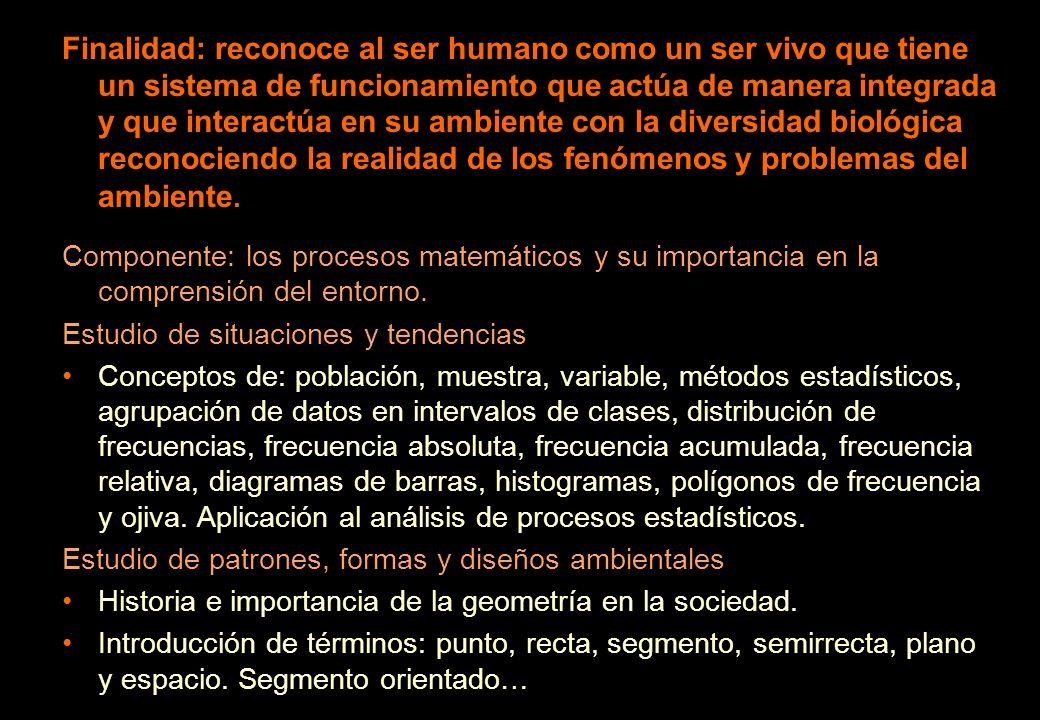 Finalidad: reconoce al ser humano como un ser vivo que tiene un sistema de funcionamiento que actúa de manera integrada y que interactúa en su ambient