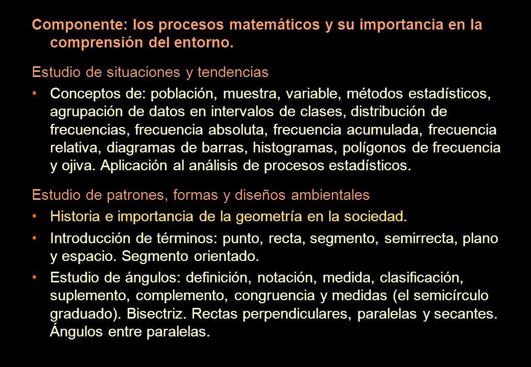 Componente: los procesos matemáticos y su importancia en la comprensión del entorno. Estudio de situaciones y tendencias Conceptos de: población, mues