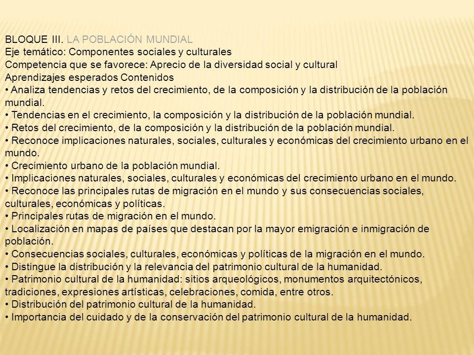 BLOQUE III. LA POBLACIÓN MUNDIAL Eje temático: Componentes sociales y culturales Competencia que se favorece: Aprecio de la diversidad social y cultur