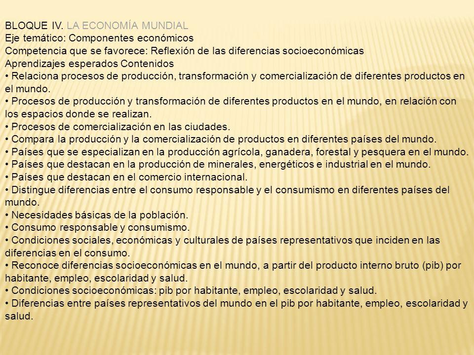 BLOQUE IV. LA ECONOMÍA MUNDIAL Eje temático: Componentes económicos Competencia que se favorece: Reflexión de las diferencias socioeconómicas Aprendiz