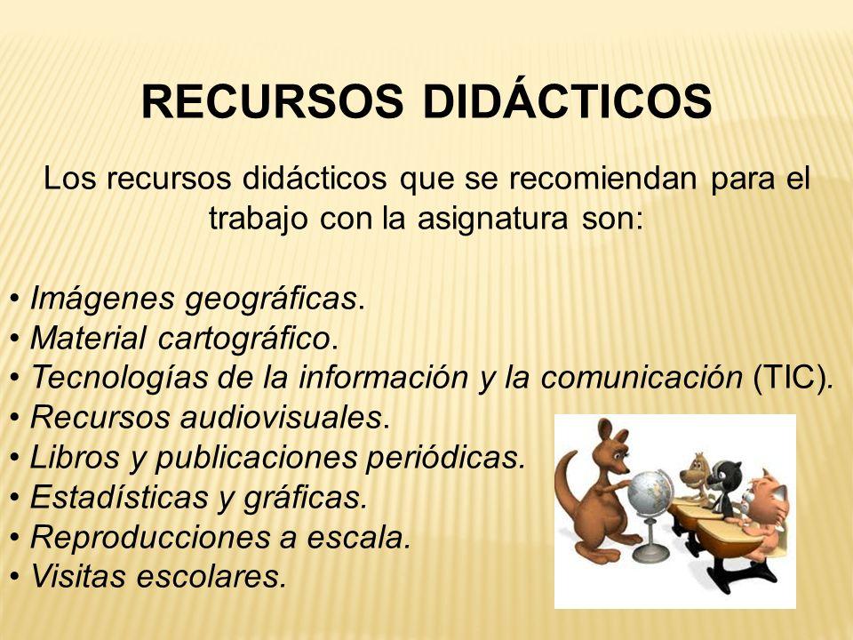 RECURSOS DIDÁCTICOS Los recursos didácticos que se recomiendan para el trabajo con la asignatura son: Imágenes geográficas. Material cartográfico. Tec
