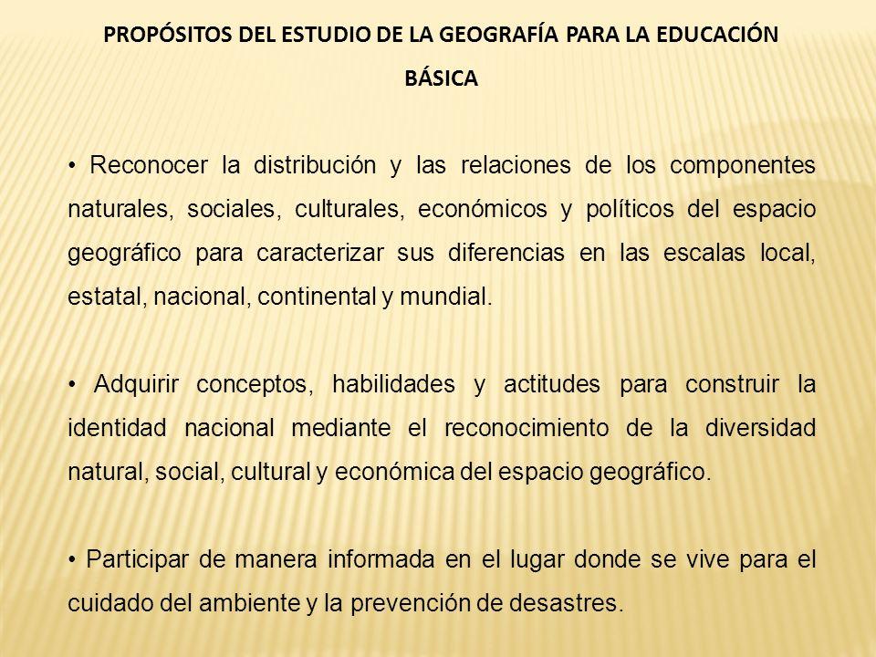 PROPÓSITOS DEL ESTUDIO DE LA GEOGRAFÍA PARA LA EDUCACIÓN BÁSICA Reconocer la distribución y las relaciones de los componentes naturales, sociales, cul