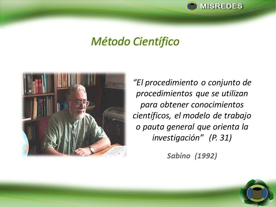 El procedimiento o conjunto de procedimientos que se utilizan para obtener conocimientos científicos, el modelo de trabajo o pauta general que orienta