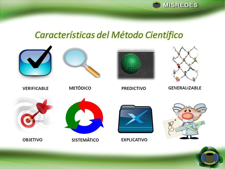 VERIFICABLE EXPLICATIVOOBJETIVO METÓDICO SISTEMÁTICO GENERALIZABLE PREDICTIVO