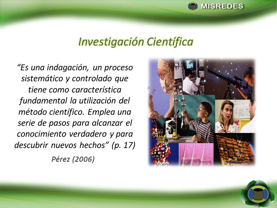 Pérez (2006) Es una indagación, un proceso sistemático y controlado que tiene como característica fundamental la utilización del método científico. Em