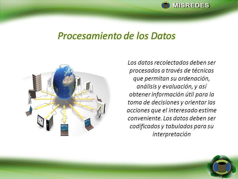 Los datos recolectados deben ser procesados a través de técnicas que permitan su ordenación, análisis y evaluación, y así obtener información útil par