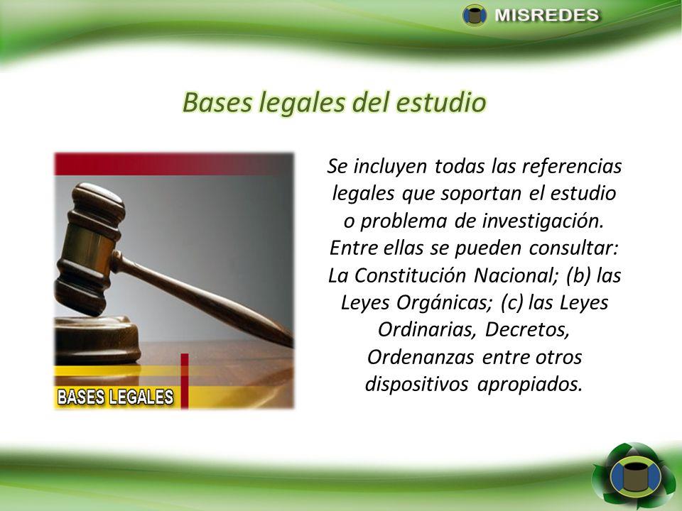 Se incluyen todas las referencias legales que soportan el estudio o problema de investigación. Entre ellas se pueden consultar: La Constitución Nacion