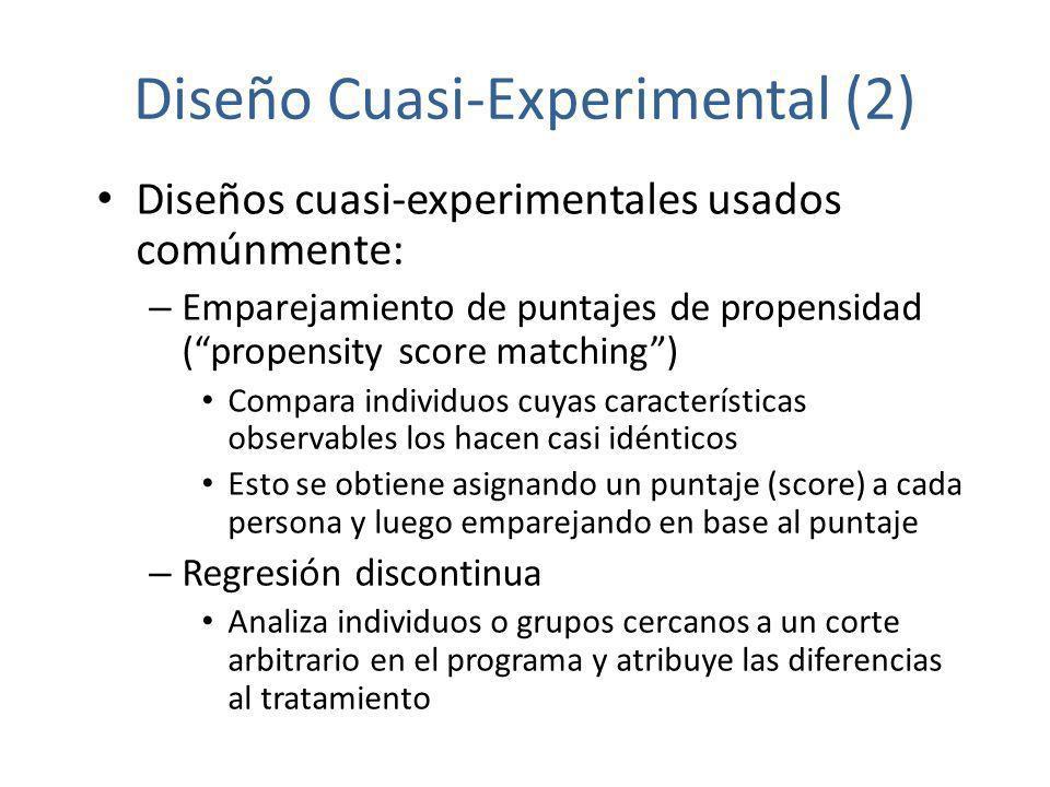 Diseño Cuasi-Experimental (2) Diseños cuasi-experimentales usados comúnmente: – Emparejamiento de puntajes de propensidad (propensity score matching)