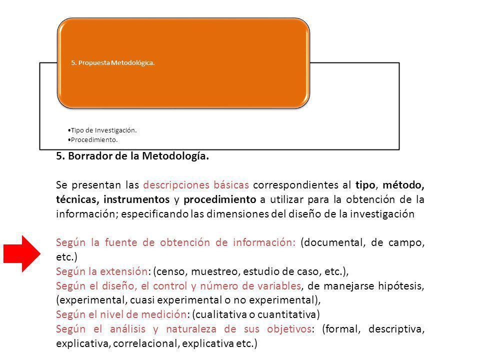Tipo de Investigación. Procedimiento. 5. Propuesta Metodológica. 5. Borrador de la Metodología. Se presentan las descripciones básicas correspondiente