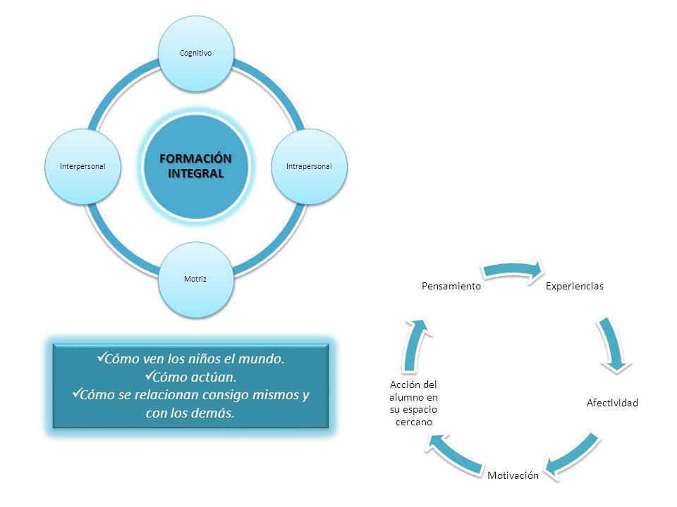 FORMACIÓ N INTEGRAL Cognitivo Intrapersonal MotrizInterpersonal Experiencias Afectividad Motivación Acción del alumno en su espacio cercano Pensamient