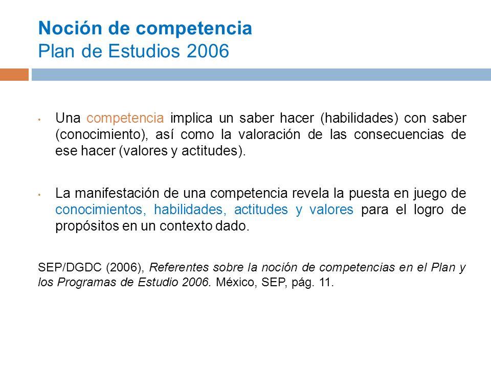 Noción de competencia Plan de Estudios 2006 Una competencia implica un saber hacer (habilidades) con saber (conocimiento), así como la valoración de las consecuencias de ese hacer (valores y actitudes).